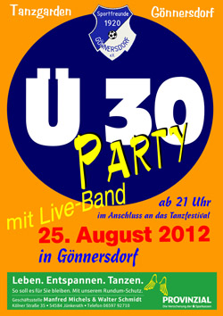 Plakat Ü 30 Party Gönnersdorf 2012